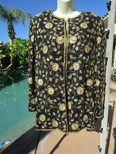 """Vintage 80s silk embellished jacket black gold 42"""" bust cocktail L evening"""