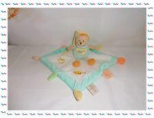 ♣ - Doudou Semi Plat Carré Ours Vert Blanc Jaune Pot de Miel Baby Nat