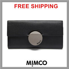 Mimco Waver Large Cow Leather Flap Open Wallet Gunmetal in Black PPR DF