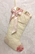 Rachel Ashwell Simply Shabby Chic Quilted Christmas Stocking Pink Hydrangea READ