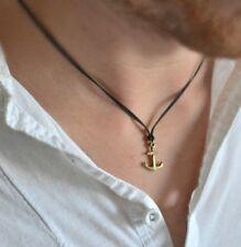 Men's necklace, bronze anchor necklace for men, black, gift for him, nautical