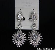 CZ Cubic Zirconia Cluster Flower Burst Drop Wedding Bridal Earring UK Clear