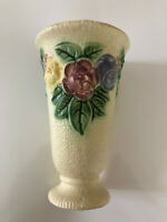 """Antique Roseville Rozane Embossed Rose Bouquet Dimpled Yellow - 8"""" FLOWER VASE"""