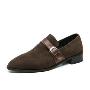New Business Men Faux Suede Solid Color Pointed Toe Buckle Straps Formal Loafers