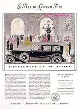 PUBLICITE AUTOMOBILE CADILLAC BAL DU GRAND PRIX ART DECO DE 1929 FRENCH AD RARE