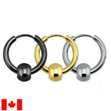 Pair Surgical Stainless Steel Hoop  Bead Huggie Ear Cartilage Earrings punk gift