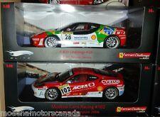 LOT OF 2 FERRARI F430 CHALLENGE RACECARS #28 & #102 1:18 by HOT WHEELS ELITE