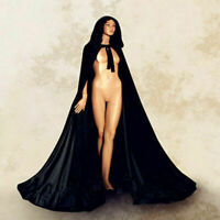 2019 Black Black Velvet Hooded Cloak Long Wedding Cape Halloween Plus Size S-XXL