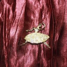 vintage gold tone ballerina pin with rhinestone accents