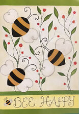 """BEE HAPPY BEES and FLOWERS SPRING SUMMER YARD GARDEN FLAG 12.5"""" X 18"""""""