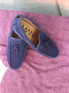 Mens Blue Suede Summer Moccassin Shoes Size 9 from Asos