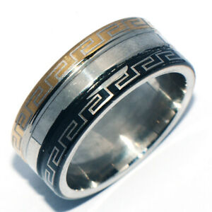 Vintage 2-Tone Black&Gold Ring Band Rings Fashion Rings Womens Jewelry Size 6
