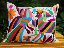 #4 Otomi Pillow Multi-Color Hand Embroidered Mexican Folk Art Decorator Favorite