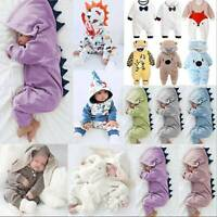 Newborn Infant Baby Boy Girl Dinosaur Hooded Romper Jumpsuit Clothes Outfit Soft