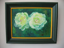 CONTEMPORARY  PAINTING  TWO  ROSES   OIL  ON  CANVAS ANGELA  ROSINA  BOZZA