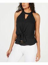 THALIA SODI $64 Womens New Black Tie Front  Halter Sleeveless Casual Top XL B+B