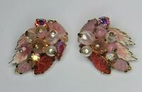 Vintage Earrings West Germany Pink Molded Glass Rhinestone Faux Pearl Clip On