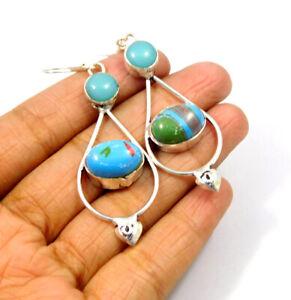 Rainbow Calsilica .925 Silver Plated Handmade Earring Jewelry JC9617