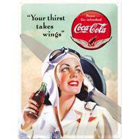 Blechschild groß Coca Cola Wings Lady,Nostalgie Schild 40 cm ! ! !,NEU