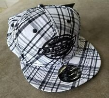 NEW Plaid Black, White & Gray Dickies Logo Fitted Hat Embroidered Cap - Size S/M