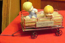 Enesco Country Cousins Katie & Scooter in Hayride Wagon