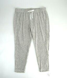 Women's Gilligan O'Malley Fleece Lounge Pants Cream and Gray Size XL