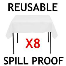 8 WIPE CLEAN LARGE WHITE 120CM SQUARE PLASTIC REUSABLE TABLE CLOTH COVER PARTY