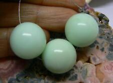 3 RARE NATURAL APPLE GREEN AUSTRALIAN CHRYSOPRASE ROUND BEADS 16mm 84cts AAA+++