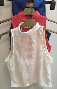 Primark High Neck Textured Sleeveless Pink Blue White Vest Crop Top