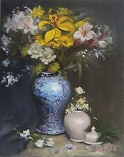 Original Oil Painting Still Life Realism Blue White Vase w Flowers by Z.Li11x14""