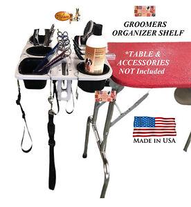 RESCO PET GROOMING GROOMER ORGANIZER TABLE TRAY Tool Blade Scissor Shelf w/Clamp