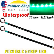 "2x 12"" Flexible 15-LED Light Strip Bar for Car Motor Boat Waterproof 12V Green"