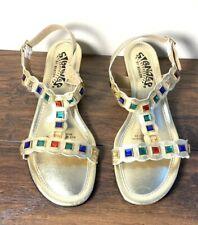 Vintage 60's - 80's? Signals Beacon Sandals Faux Jewels Gold T strap Women 10
