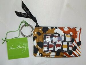 VERA BRADLEY ID Zip Case - Credit Cards Key Chain - Painted Feathers - NWT