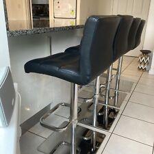 John Lewis 4 x Real Leather Black Kitchen Bar Stools Gas Lift Adjustable Stools