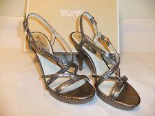 MICHAEL KORS Cicely Grey Nickel Leather Heel Dress Sandal Size 9.5 NIB $165