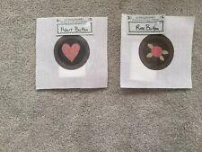 Ewe & Eye & Friends Heart Button & Rose Button - Canvas & Buttons NIP