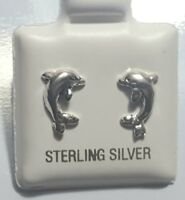 Dolphin Stud Post Earrings 925 Sterling Silver Nautical Sea Fish # 2