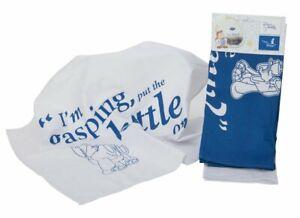Pair of Collectable Sydney & Stanley Blue & White Tetley Tea Folk Kitchen Towel