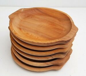 "Wooden plate set of six 9,5 "" long medieval serving plate  beech wood tray"