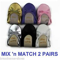 BULK 2 PACK x GROSBY JIFFIES GIRLS BALLET DANCE FLAT SLIPPER SHOES - ALL COLOURS