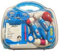 Children's BLUE Doctors Nurses Kit Role Play Set Medical Toy & Carry Case 8805