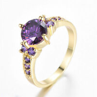 Women's Round Cut Topaz Yellow Gold Filled Wedding Fashion Ring Jewelry Sz 6-10