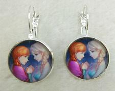 FROZEN Glass Tibet silver Earrings ROYAL PRINCESS Anna & Elsa gift