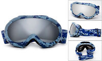 Cloud 9 - Ski Snowboarding Goggles Kids Blue Camouflage Silver Mirror Lens Snow