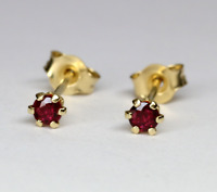 Ruby Stud Earrings 14K Solid Gold  Brilliant Cut   0.10ct to 0.60 ct VIDEO !