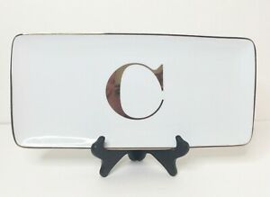 "Williams Sonoma ""C"" Initial Monogram Rectangle Tray Gold Letter & Trim"