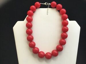 Women's Red Chunky Bead Choker Necklace