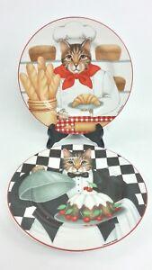 "Gourmet Cats Sakura Salad Plates Set 2 8"" Cooking Kitchen Cat Stoneware Cake"