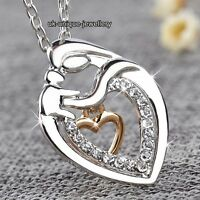 ROSE GOLD & SILVER Crystal Heart Necklace Xmas Gifts For Her Mother Daughter Mum